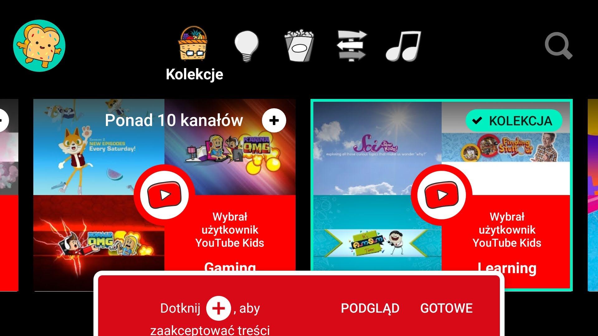 Youtube kids wybór kanałów