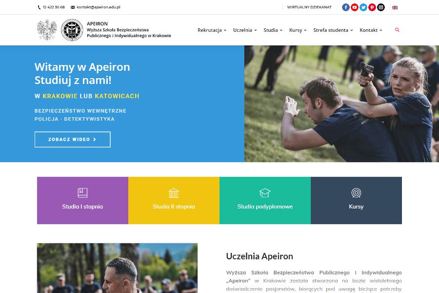Strona internetowa uczelnia Apeiron